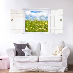 044 Wandtattoo Blumenwiese im Fenster mit Fensterläden