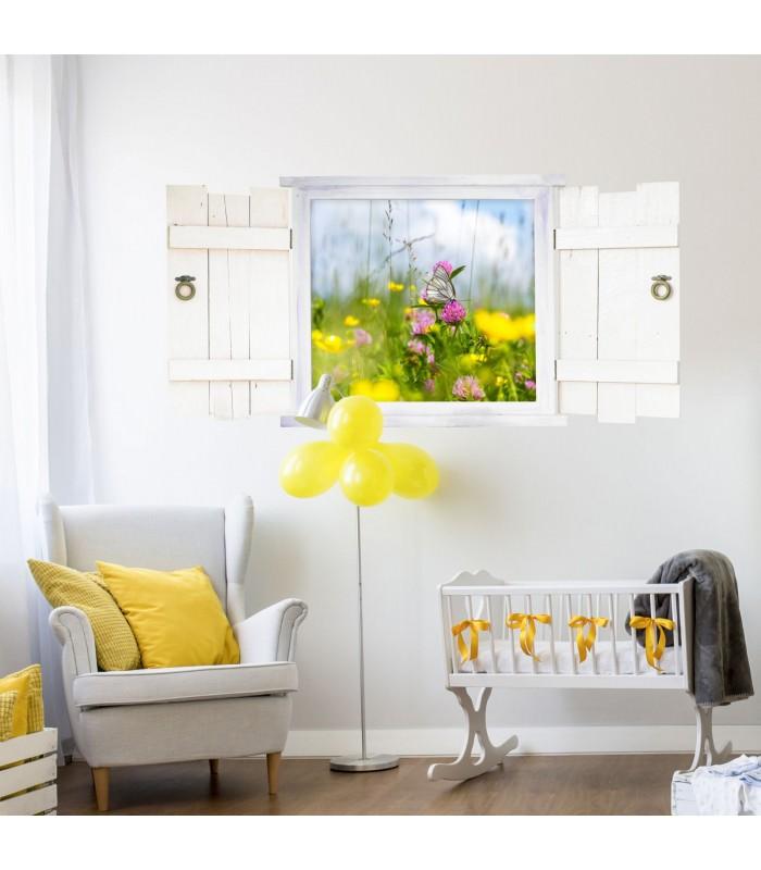 045 wandtattoo schmetterling auf blumenwiese im fenster. Black Bedroom Furniture Sets. Home Design Ideas