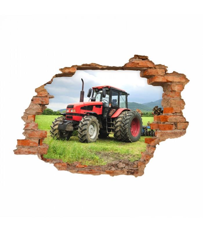 047 Wandtattoo Traktor Loch In Der Wand