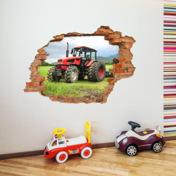 047 Wandtattoo Traktor - Loch in der Wand