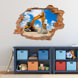 049 Wandtattoo Bagger Baustelle - Loch in der Wand