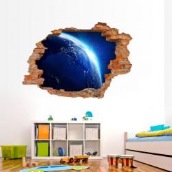 051 Wandtattoo Erde im Weltall - Loch in der Wand Europa Nacht Atmosphäre Weltraum
