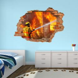 054 Wandtattoo Feuerwehrmann - Loch in der Wand Feuerwehr löscht Haus Feuer