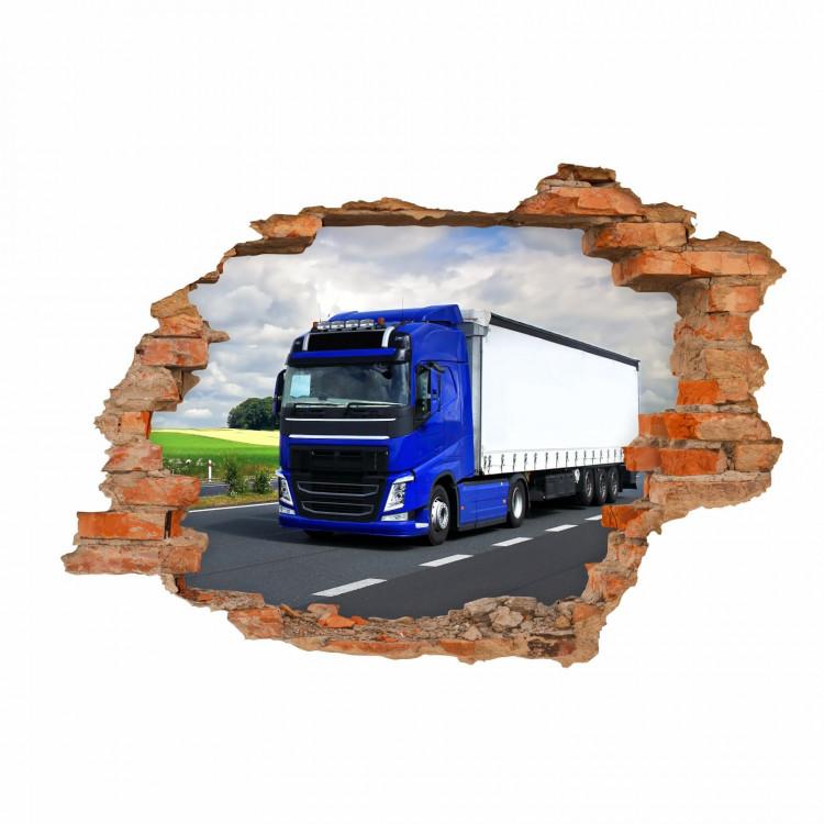 nikima - 055 Wandtattoo LKW - Loch in der Wand -  Kinderzimmer Junge Lastwagen Truck Laster Brummi Fahrer