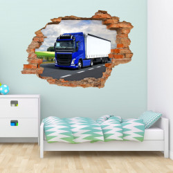 055 Wandtattoo LKW - Loch in der Wand -  Lastwagen Truck Laster Brummi Fahrer