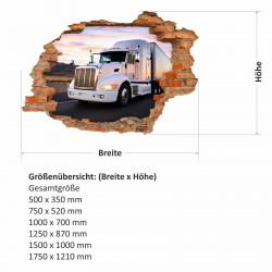 057 Wandtattoo  Truck - Loch in der Wand - LKW Lastwagen Laster Brummi