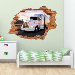 nikima - 057 Wandtattoo  Truck - Loch in der Wand - Kinderzimmer LKW Lastwagen Laster Brummi