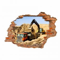 071 Wandtattoo Baustelle Bagger LKW - Loch in der Wand - Kinderzimmer