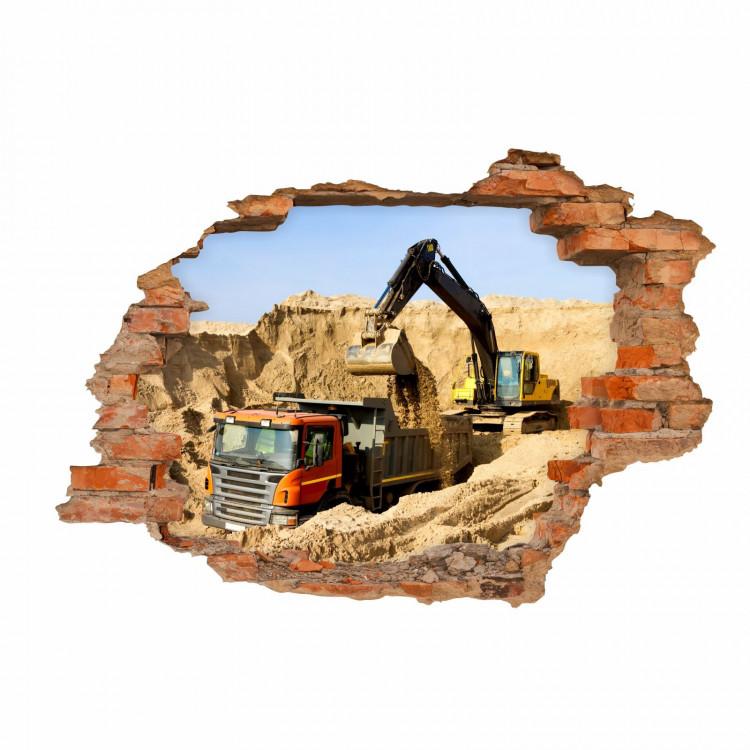 nikima - 071 Wandtattoo Baustelle Bagger LKW - Loch in der Wand - Kinderzimmer