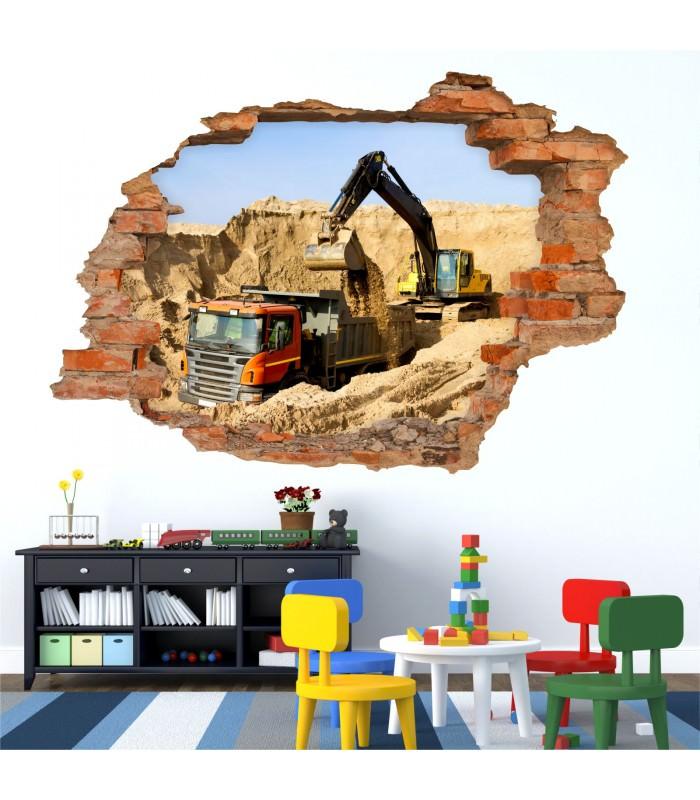 071 wandtattoo baustelle bagger lkw loch in der wand kinderzimmer. Black Bedroom Furniture Sets. Home Design Ideas