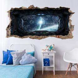 058 Wandtattoo Raumschiff - Loch in der Wand - Kinderzimmer Teenager Raumstation Weltall Brücke