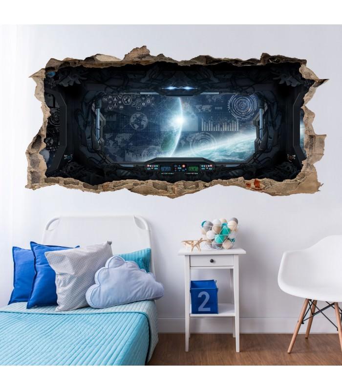 058 wandtattoo raumschiff loch in der wand. Black Bedroom Furniture Sets. Home Design Ideas