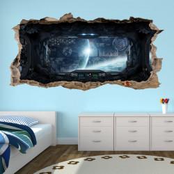 nikima - 058 Wandtattoo Raumschiff - Loch in der Wand - Kinderzimmer Teenager Raumstation Weltall Brücke