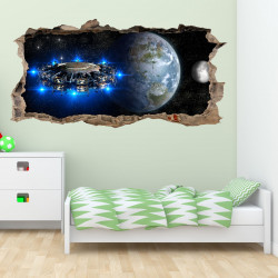 067 Wandtattoo Alien Raumschiff - Loch in der Wand - Kinderzimmer Teenager Raumstation Weltall Galaxie