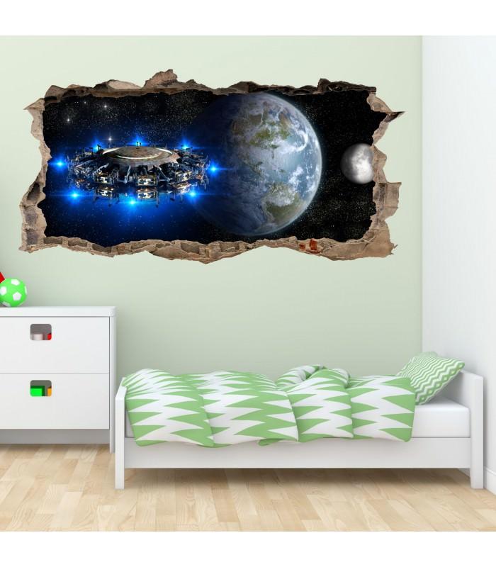 067 wandtattoo alien raumschiff loch in der wand - Kinderzimmer weltall ...