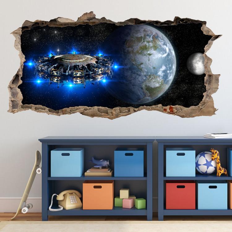 067 Wandtattoo Alien Raumschiff Loch In Der Wand Kinderzimmer