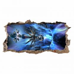 068 Wandtattoo Raumschiff Galaxie - Loch in der Wand - Kinderzimmer Teenager Raumstation schwarzes Loch