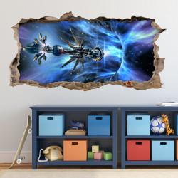 nikima - 068 Wandtattoo Raumschiff Galaxie - Loch in der Wand - Kinderzimmer Teenager Raumstation schwarzes Loch