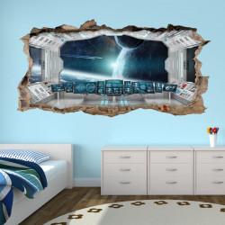 069 Wandtattoo Raumstation weiß - Loch in der Wand - Kinderzimmer Teenager Raumschiff Weltall Brücke
