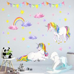072 Wandtattoo Einhorn bunt Regenbogen Kinderzimmer Baby Mädchen in 6 ver. Größen