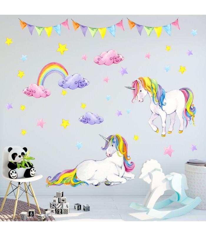 072 wandtattoo einhorn bunt regenbogen kinderzimmer baby. Black Bedroom Furniture Sets. Home Design Ideas
