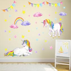 nikima - 072 Wandtattoo Einhorn bunt Regenbogen Kinderzimmer Baby Mädchen in 6 ver. Größen