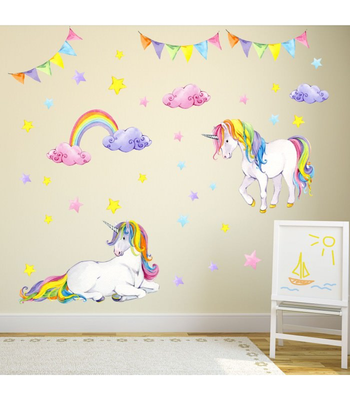 072 wandtattoo einhorn bunt regenbogen kinderzimmer baby. Black Bedroom Furniture Sets. Home Design Ideas