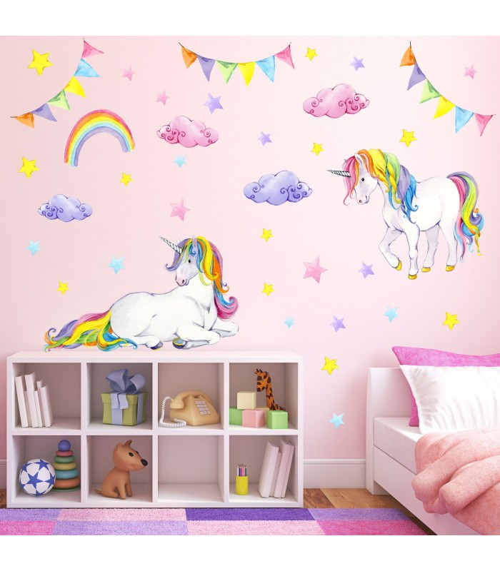 072 wandtattoo einhorn bunt regenbogen kinderzimmer. Black Bedroom Furniture Sets. Home Design Ideas