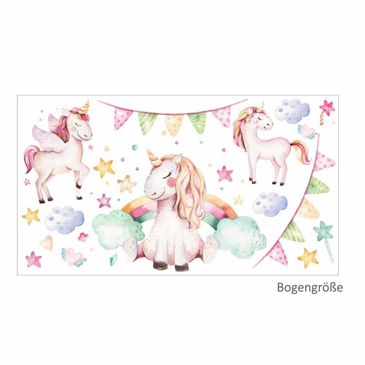 nikima - 074 Wandtattoo Einhorn pastell Regenbogen Kinderzimmer Baby Mädchen in 6 ver. Größen