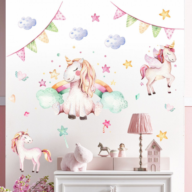 074 wandtattoo einhorn pastell regenbogen kinderzimmer baby. Black Bedroom Furniture Sets. Home Design Ideas