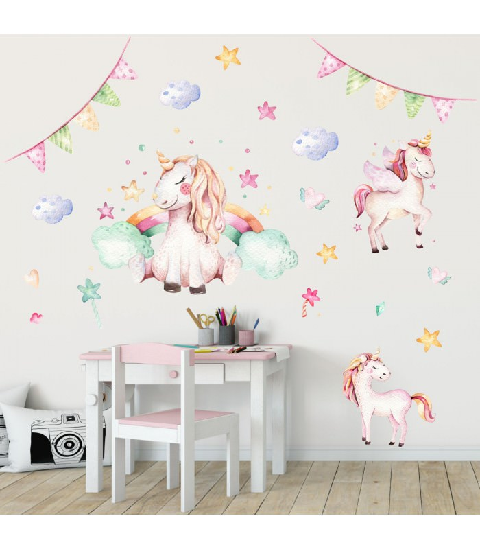 074 wandtattoo einhorn pastell regenbogen kinderzimmer. Black Bedroom Furniture Sets. Home Design Ideas