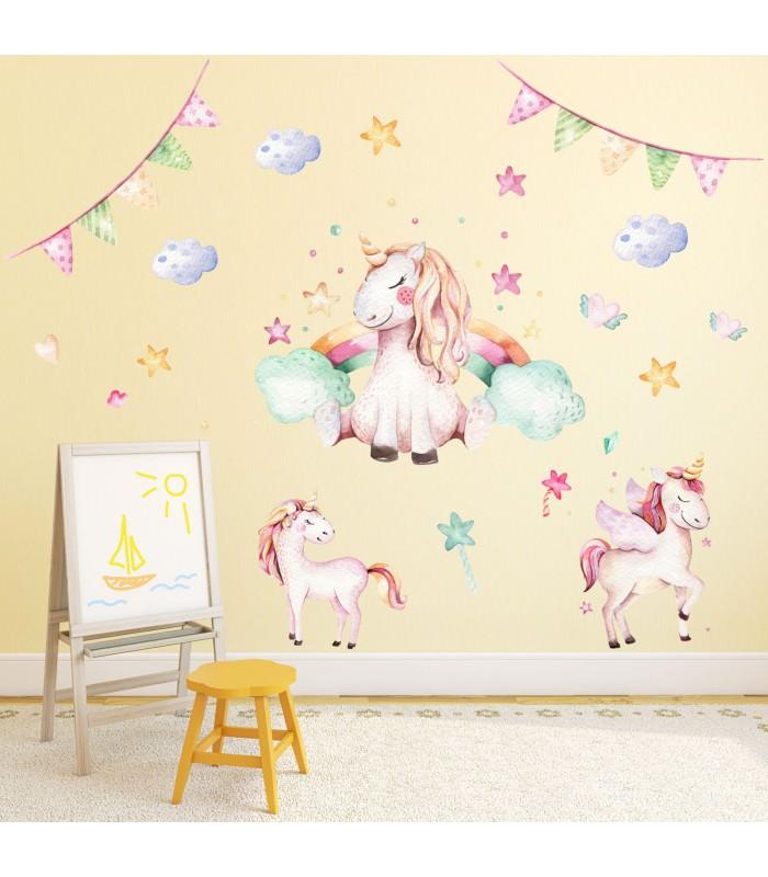 074 Wandtattoo Einhorn pastell Regenbogen Kinderzimmer Baby