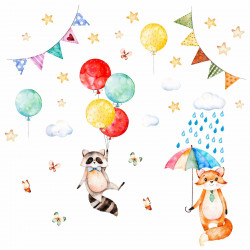 nikima - 075 Wandtattoo Waschbär und Fuchs Kinderzimmer Luftballon Regenschirm Wolken