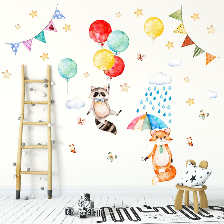 075 Wandtattoo Waschbär und Fuchs Kinderzimmer Luftballon