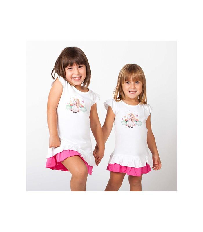 kinder m dchen r schen t shirt kleid wei pink einhorn regenbogen. Black Bedroom Furniture Sets. Home Design Ideas