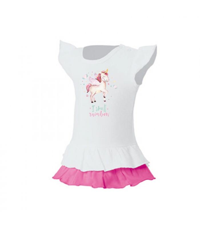 kinder m dchen r schen t shirt kleid wei pink einhorn i smell rainbow. Black Bedroom Furniture Sets. Home Design Ideas