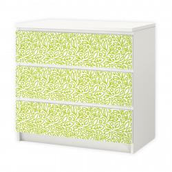nikima - 001 Möbelfolie für IKEA MALM - Floral Blätter  - 3 Schubladen Aufkleber Sticker Klebefolie  (Möbel nicht inklusive)