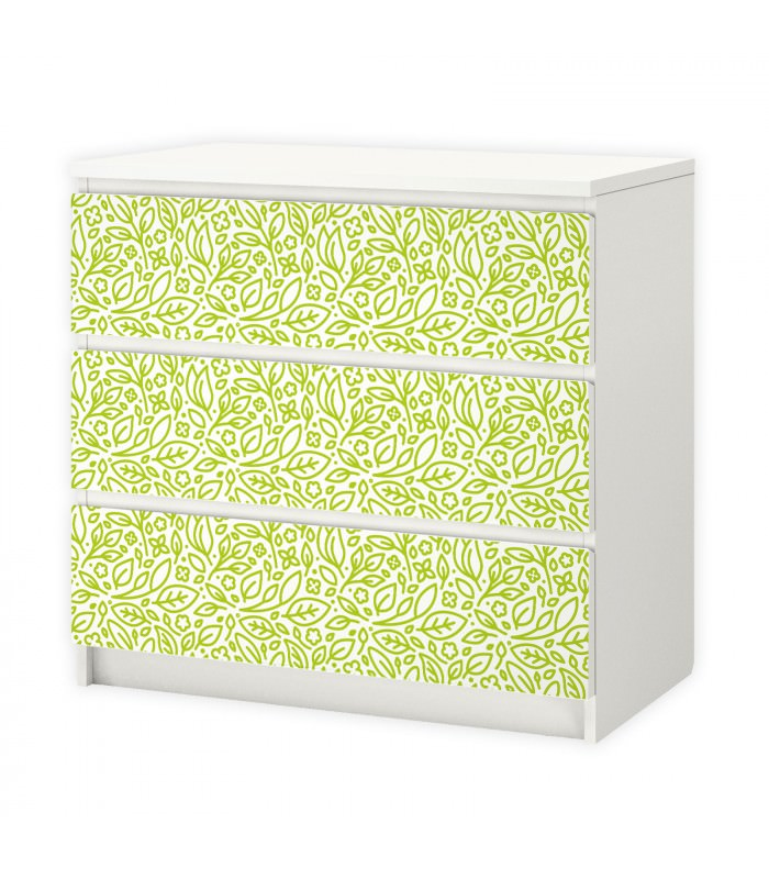 001 m belfolie f r ikea malm floral bl tter. Black Bedroom Furniture Sets. Home Design Ideas