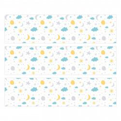 nikima - 004 Möbelfolie für IKEA MALM -Sterne Mond Wolken - 3 Schubladen Aufkleber Sticker Klebefolie  (Möbel nicht inklusive)