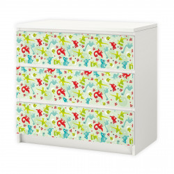 nikima - 007 Möbelfolie für IKEA MALM - Dinosaurier  - 3 Schubladen Aufkleber Sticker Klebefolie  (Möbel nicht inklusive)