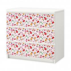 nikima - 008 Möbelfolie für IKEA MALM - Marienkäfer  - 3 Schubladen Aufkleber Sticker Klebefolie  (Möbel nicht inklusive)