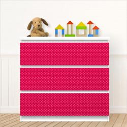 nikima - 009 Möbelfolie für IKEA MALM - Punkte rot weiß  - 3 Schubladen Aufkleber Sticker Klebefolie  (Möbel nicht inklusive)