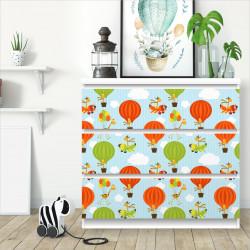 nikima - 012 Möbelfolie für IKEA MALM - Giraffe Ballon - 3 Schubladen Aufkleber Sticker Klebefolie  (Möbel nicht inklusive)