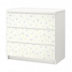 nikima - 013 Möbelfolie für IKEA MALM - Pusteblume - 3 Schubladen Aufkleber Sticker Klebefolie  (Möbel nicht inklusive)