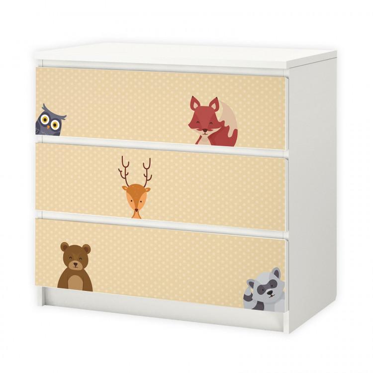 nikima - 014 Möbelfolie für IKEA MALM - Waldtiere 2 Punkte - 3 Schubladen Aufkleber Sticker Klebefolie  (Möbel nicht inklusive)