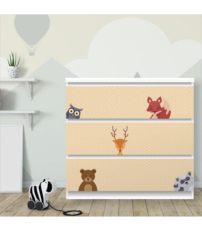014 Möbelfolie für IKEA MALM - Waldtiere 2 Punkte