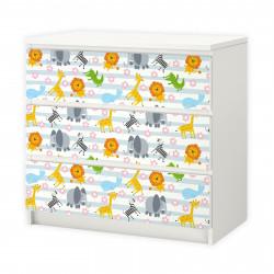 nikima - 015 Möbelfolie für IKEA MALM - Tiere Baby - 3 Schubladen Aufkleber Sticker Klebefolie  (Möbel nicht inklusive)