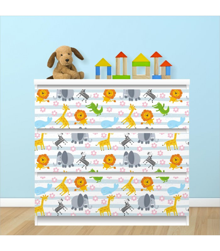 nikima 015 m belfolie f r ikea malm tiere baby 3 schubladen aufkleber sticker klebefolie. Black Bedroom Furniture Sets. Home Design Ideas