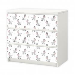 nikima - 016 Möbelfolie für IKEA MALM - Zebra  - 3 Schubladen Aufkleber Sticker Klebefolie  (Möbel nicht inklusive)