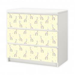 nikima - 017 Möbelfolie für IKEA MALM - Giraffe gelb - 3 Schubladen Aufkleber Sticker Klebefolie  (Möbel nicht inklusive)